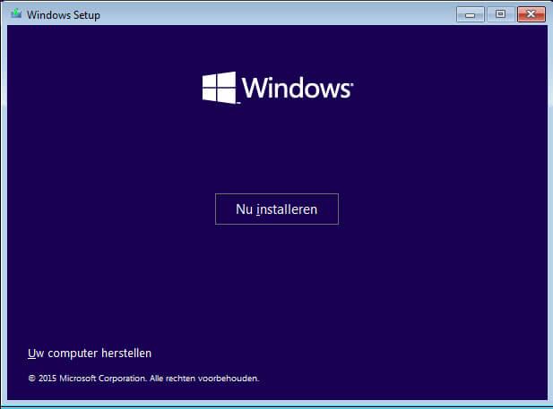 Windows nu installeren